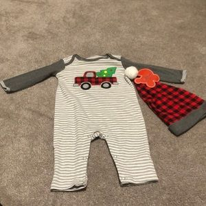 NWT Christmas onesie with matching hat